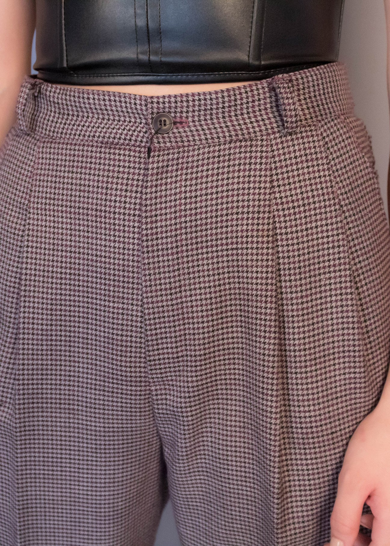 80s High-Waisted Houndstooth Trousers