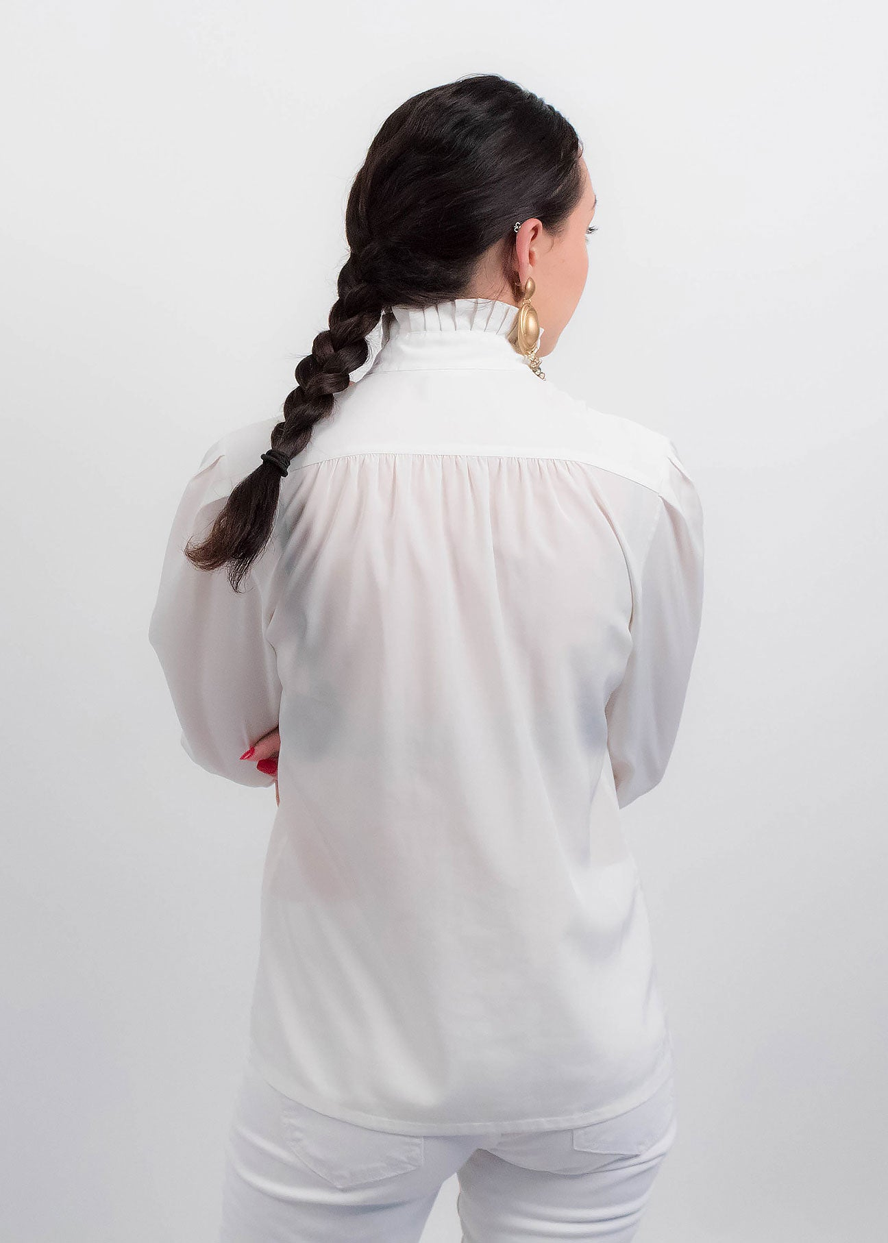 80s White Pleated Blouse