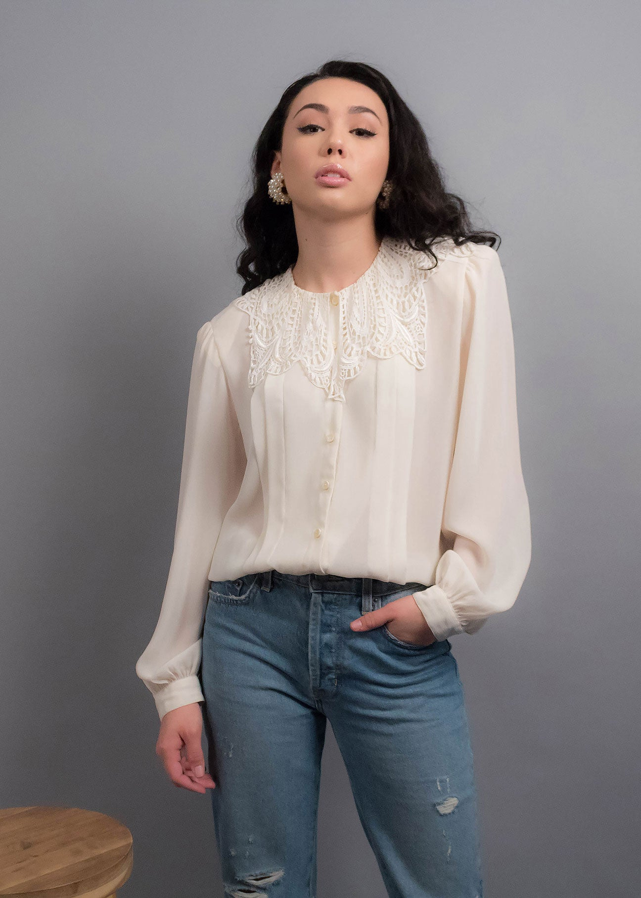 80s Crochet Collar Blouse