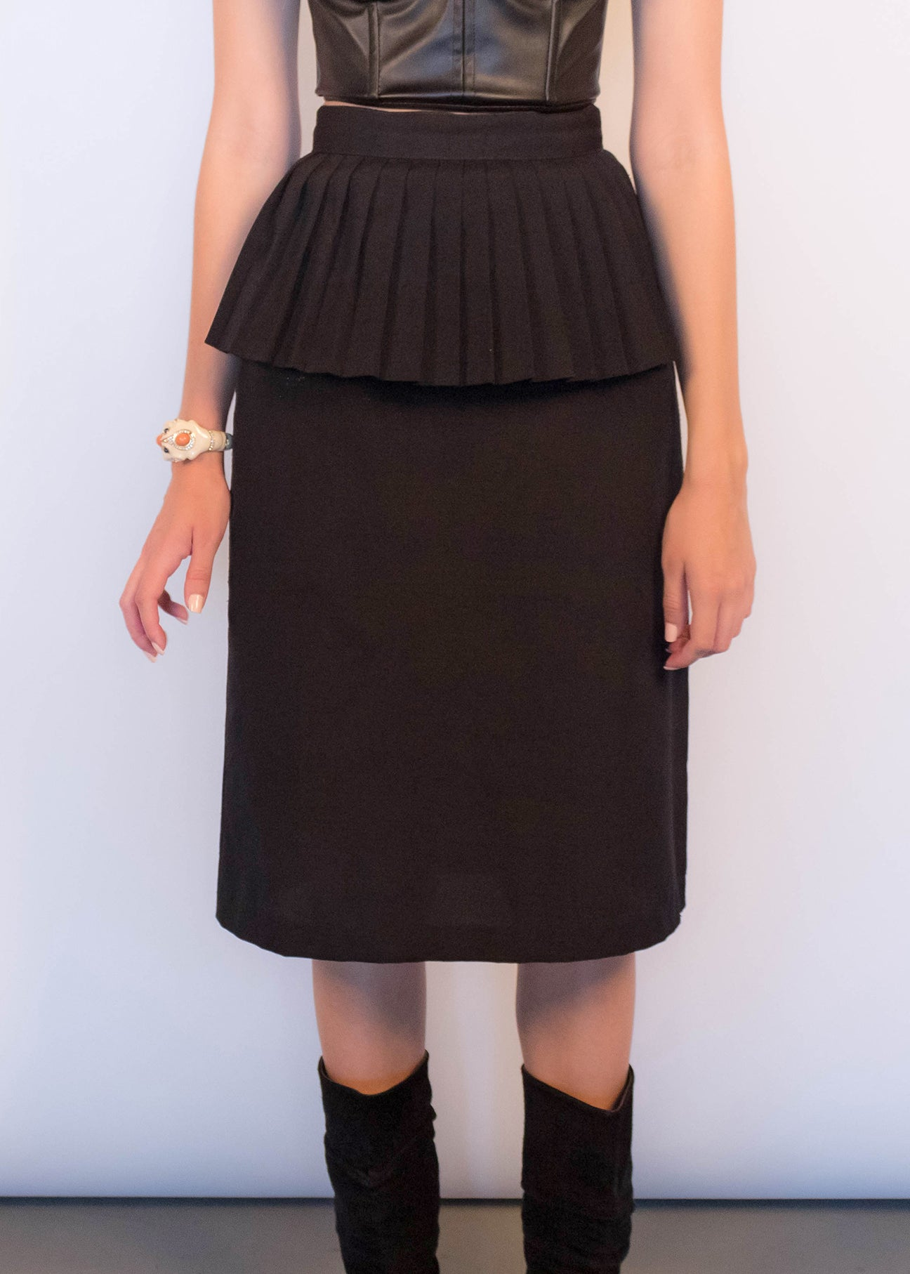 80s Black Peplum Skirt