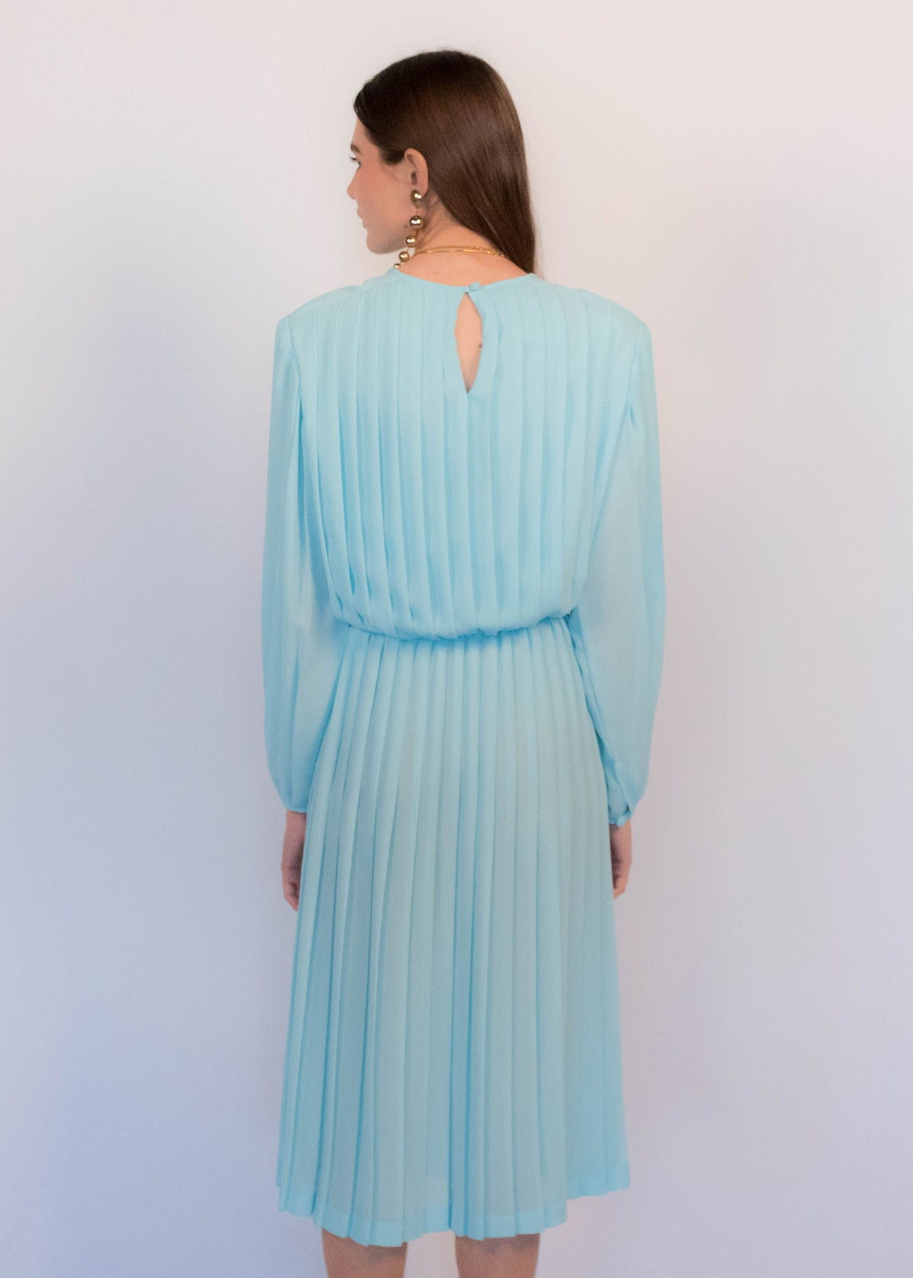80s Pleated Sheer Dress