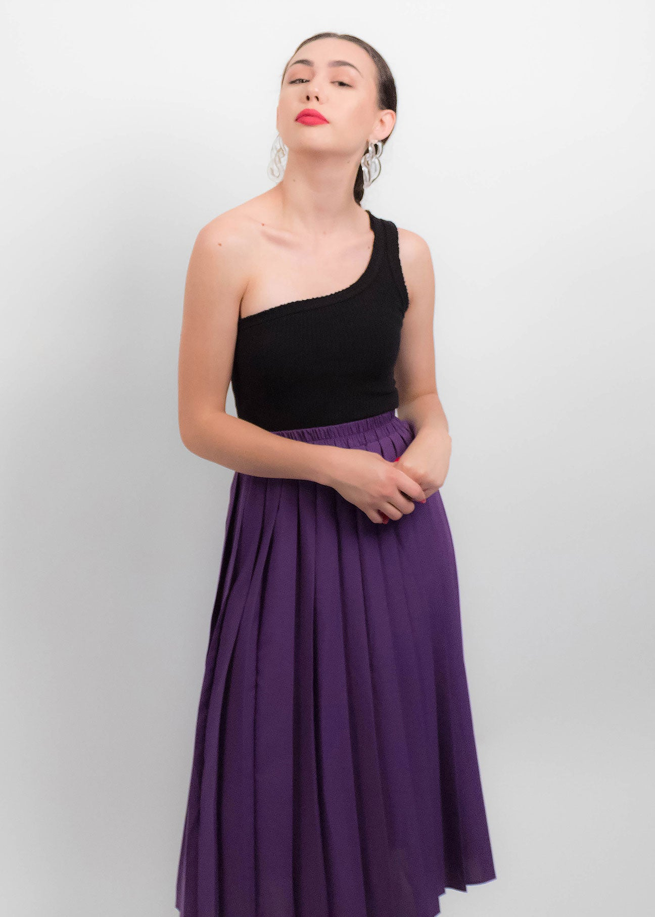 80s Purple Pleated Skirt