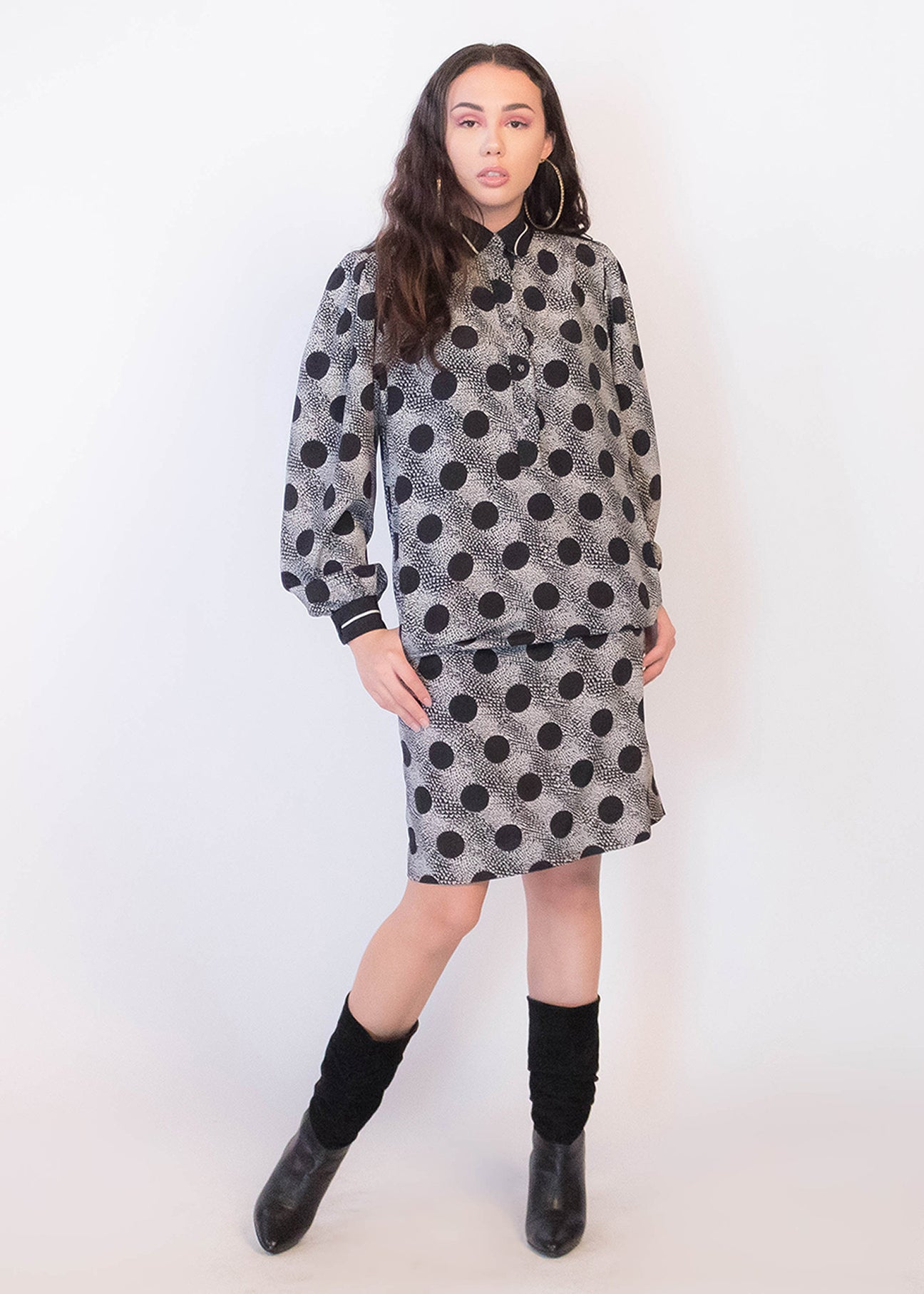 80s Polka-Dot Shirt Dress