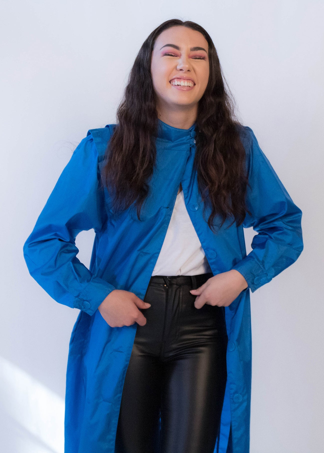 80s Electric Blue Raincoat
