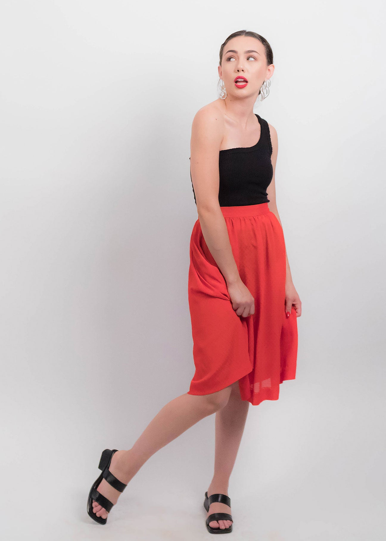 80s Red Sheer Skirt