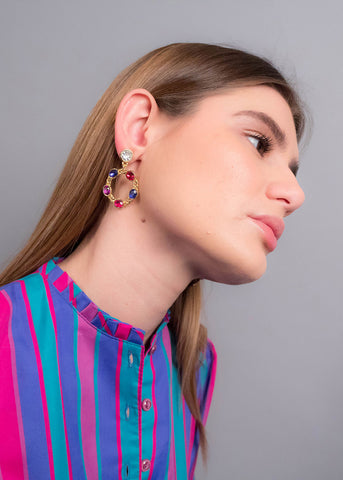 60s Beaded Cluster Statement Earrings