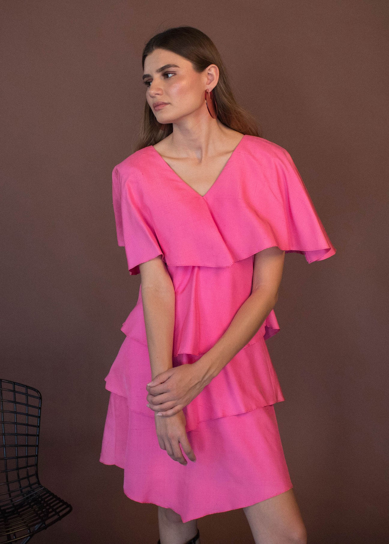 80s Ruffle Pink Dress