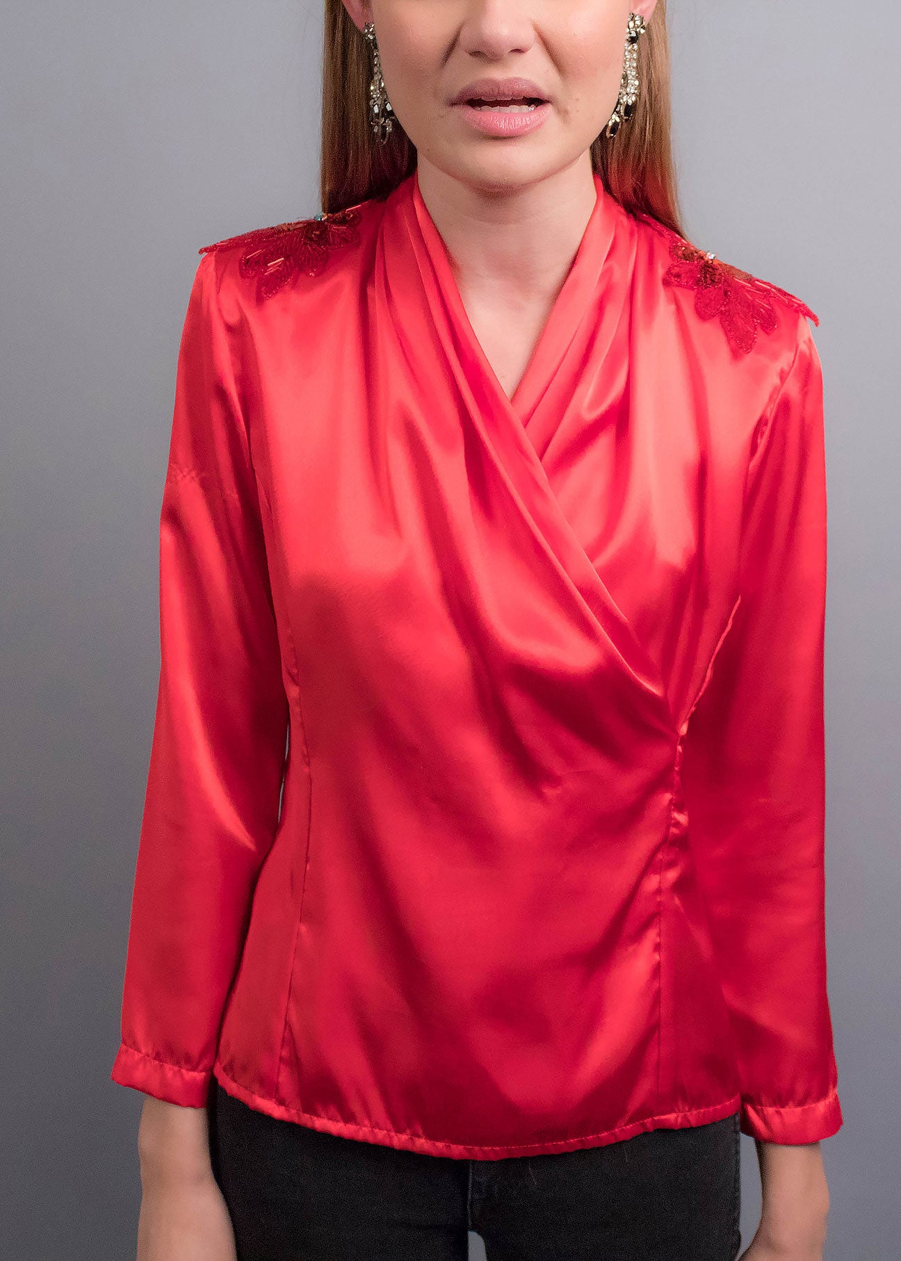 80s Sequins Shoulder Satin Blouse