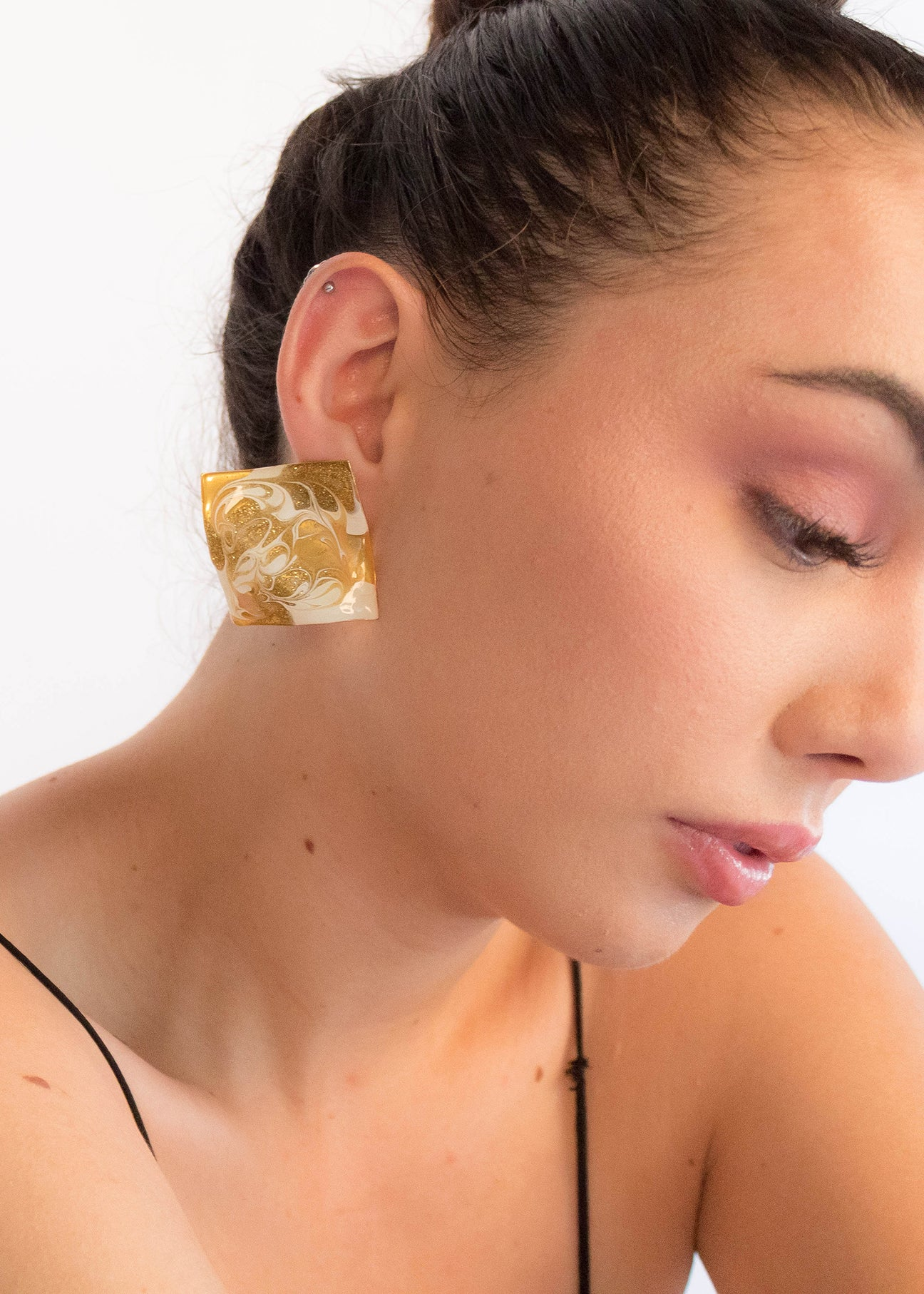80s Sculptural Square Earrings