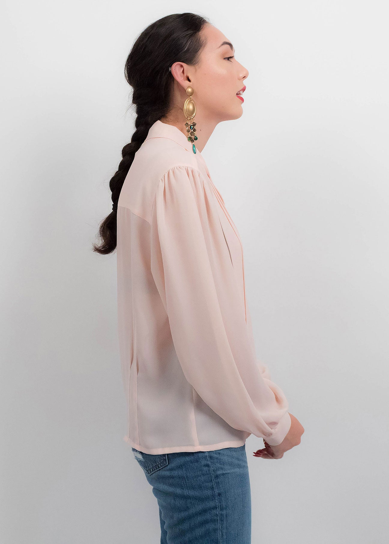 80s Peach Sheer Blouse