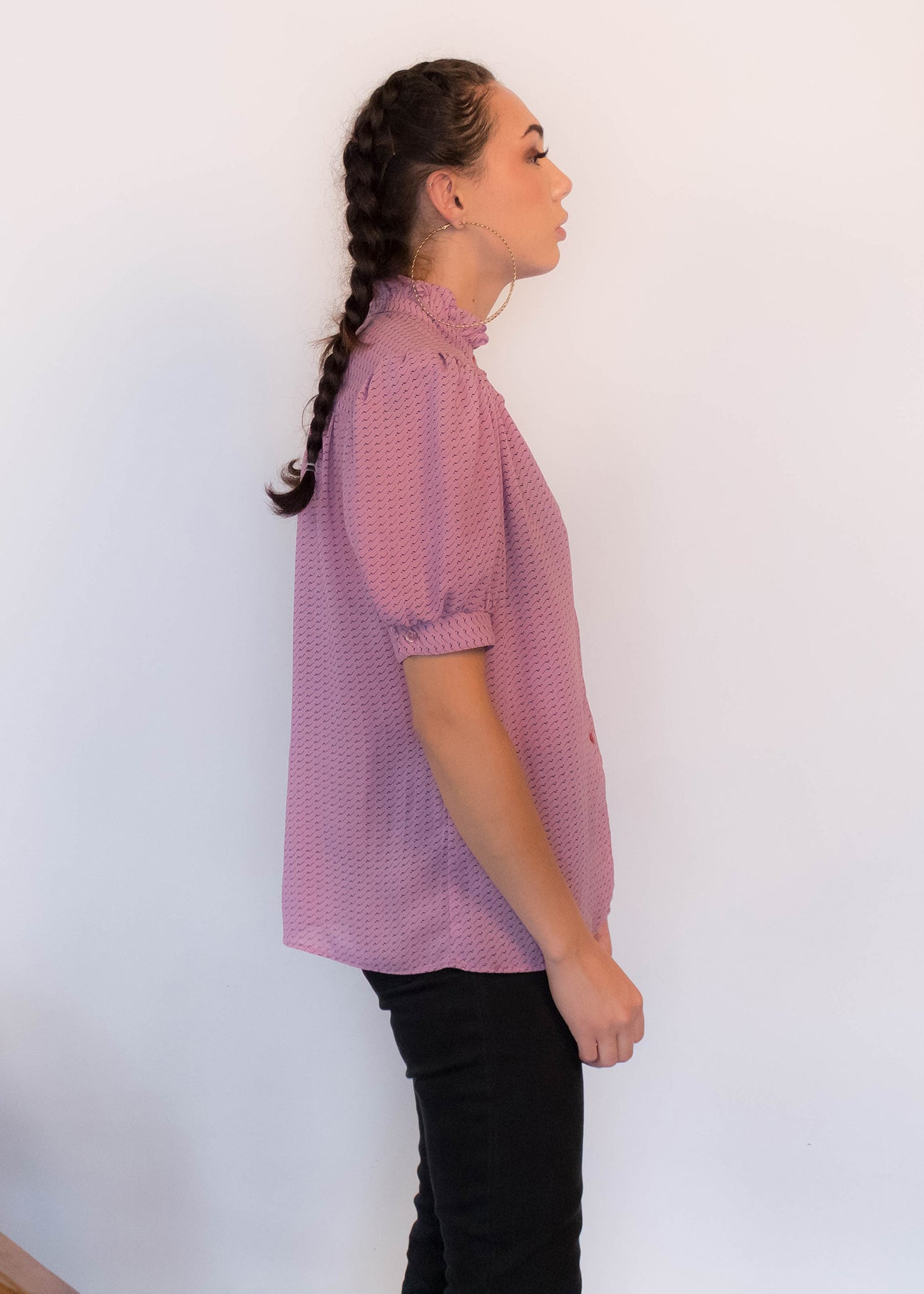 80s Sheer Abstract Blouse