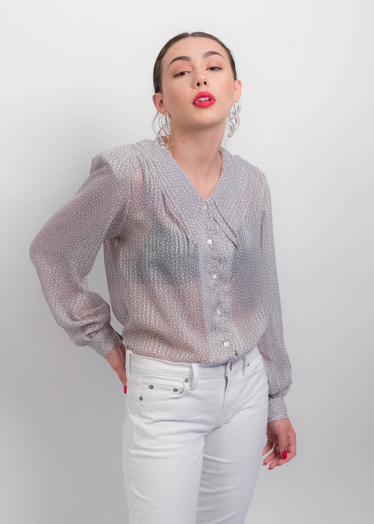 80s Sheer Polka-Dot Blouse