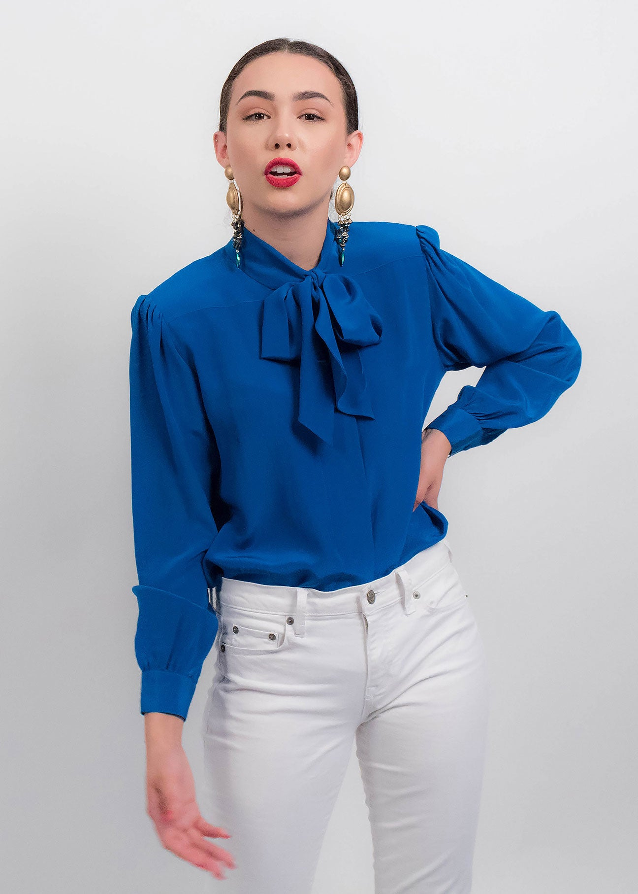 80s Ascot Silk Blouse