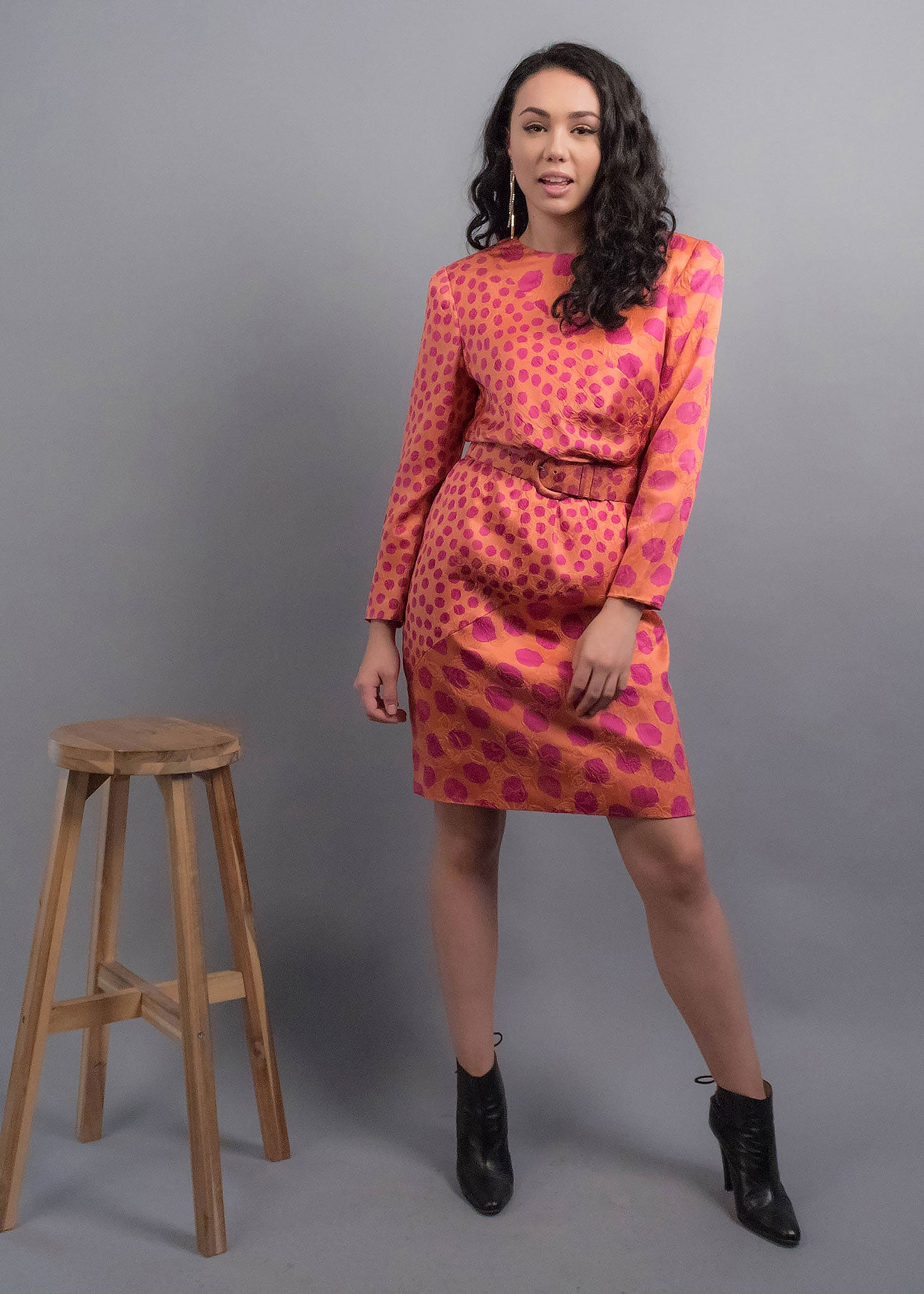 80s Floral Polka Dot Silk Dress