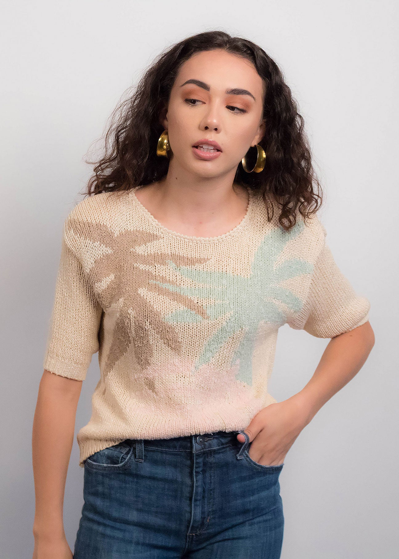 80s Tropical Knit Top