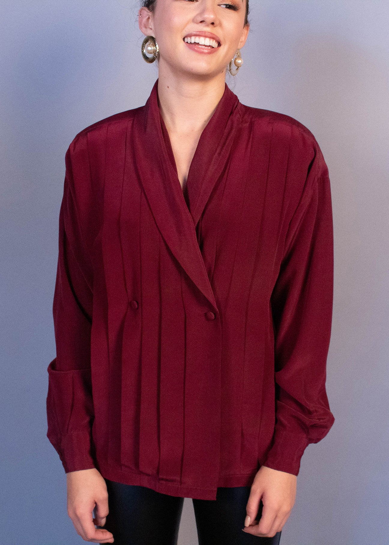 80s Pleated Silk Blouse