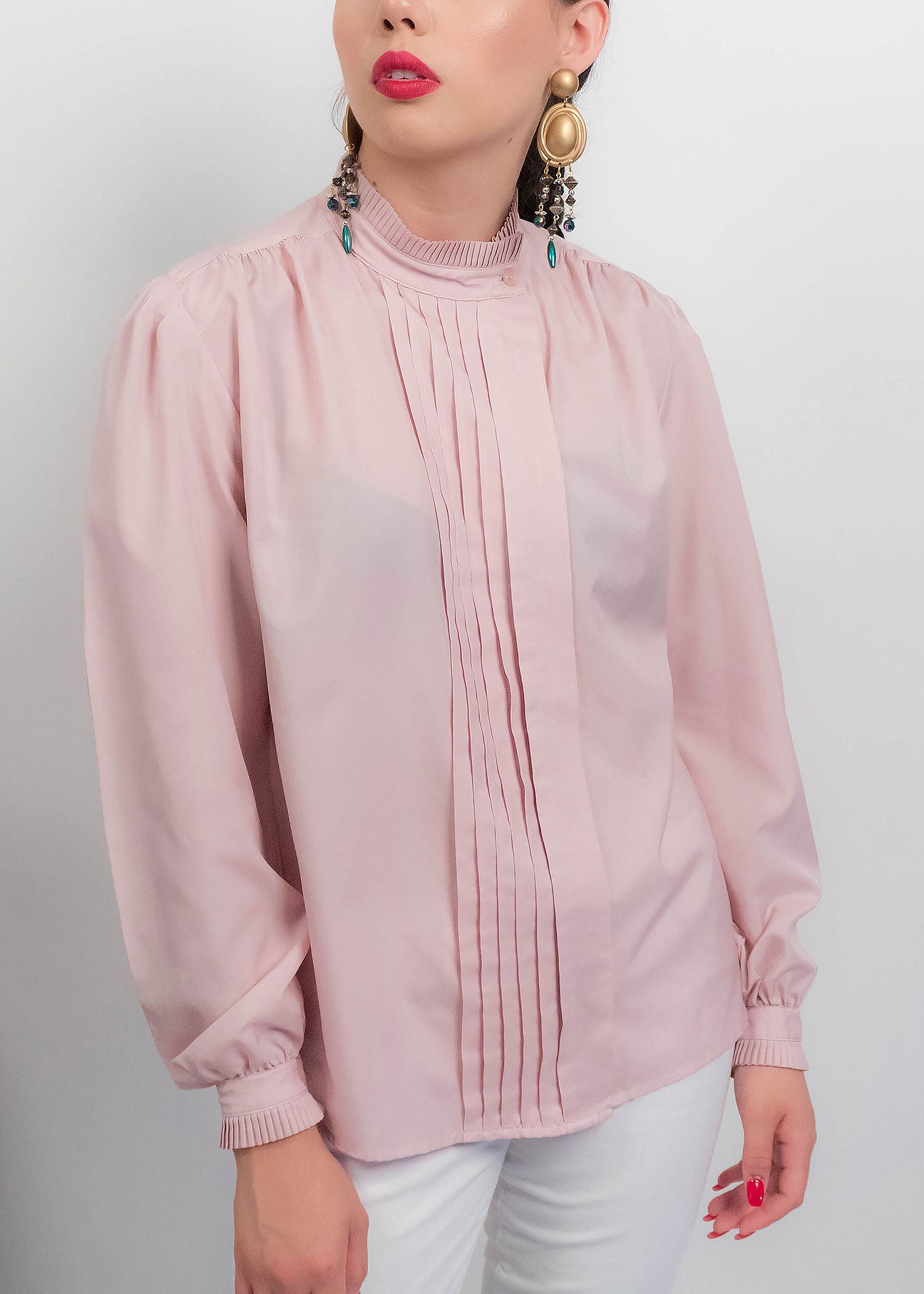 70s Blush Pleated Blouse