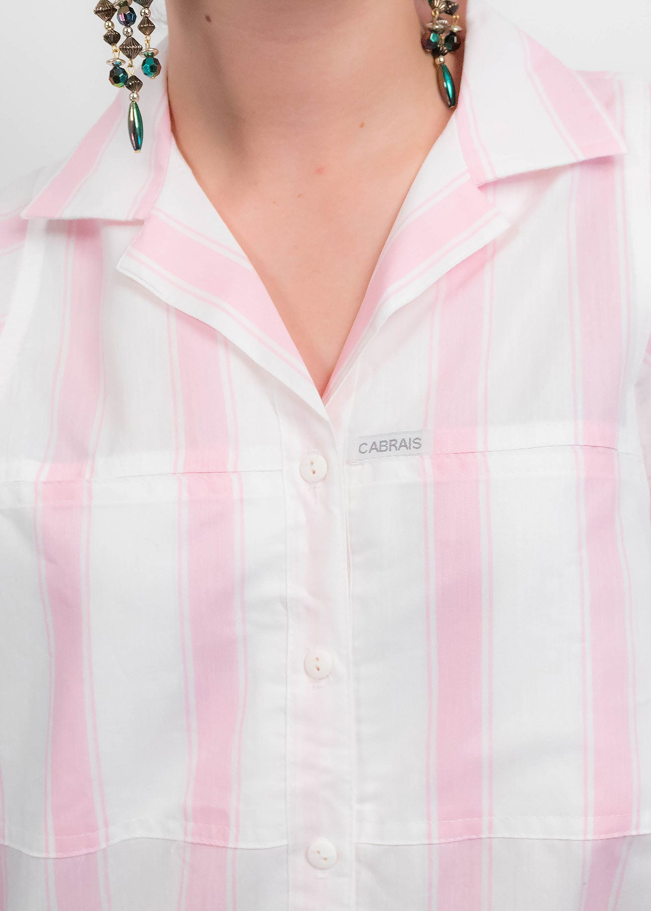 80s Pink Striped Blouse