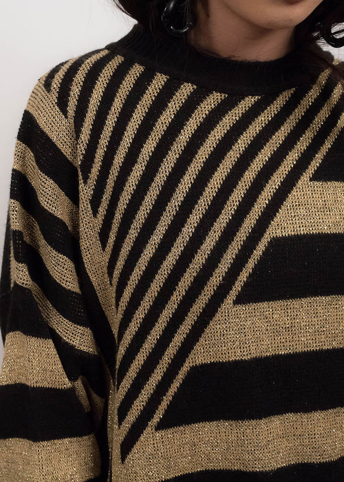 80s Gold Metallic Striped Sweater