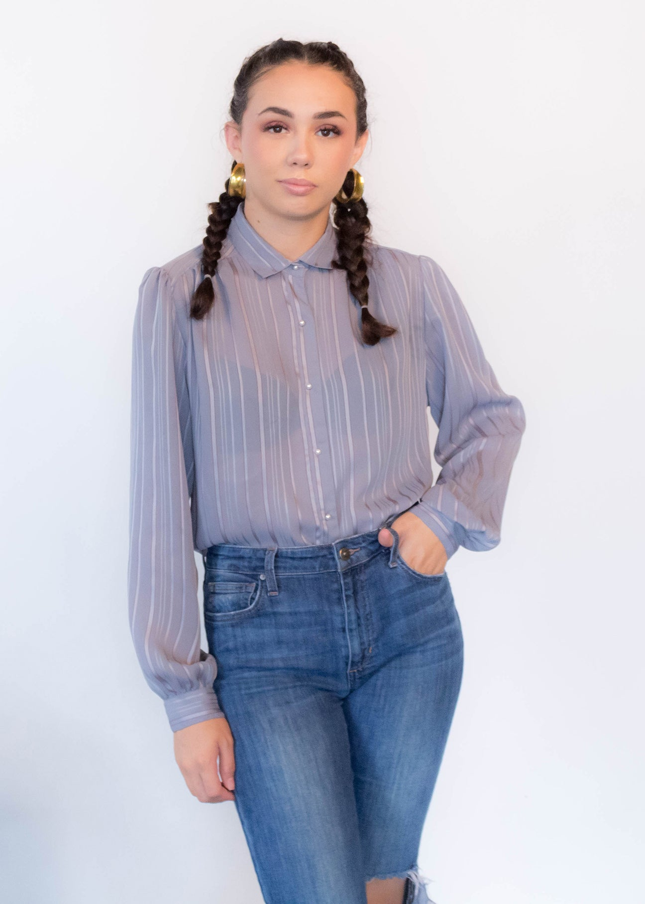 80s Striped Jacquard Blouse
