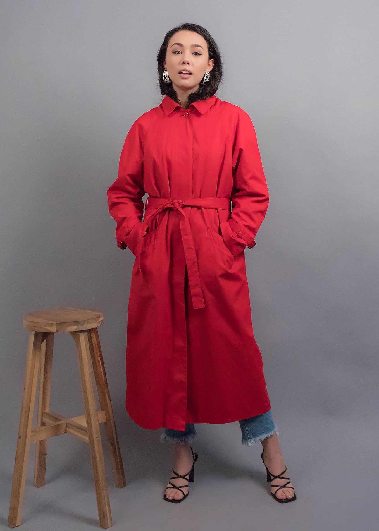 80s Red Trench Coat