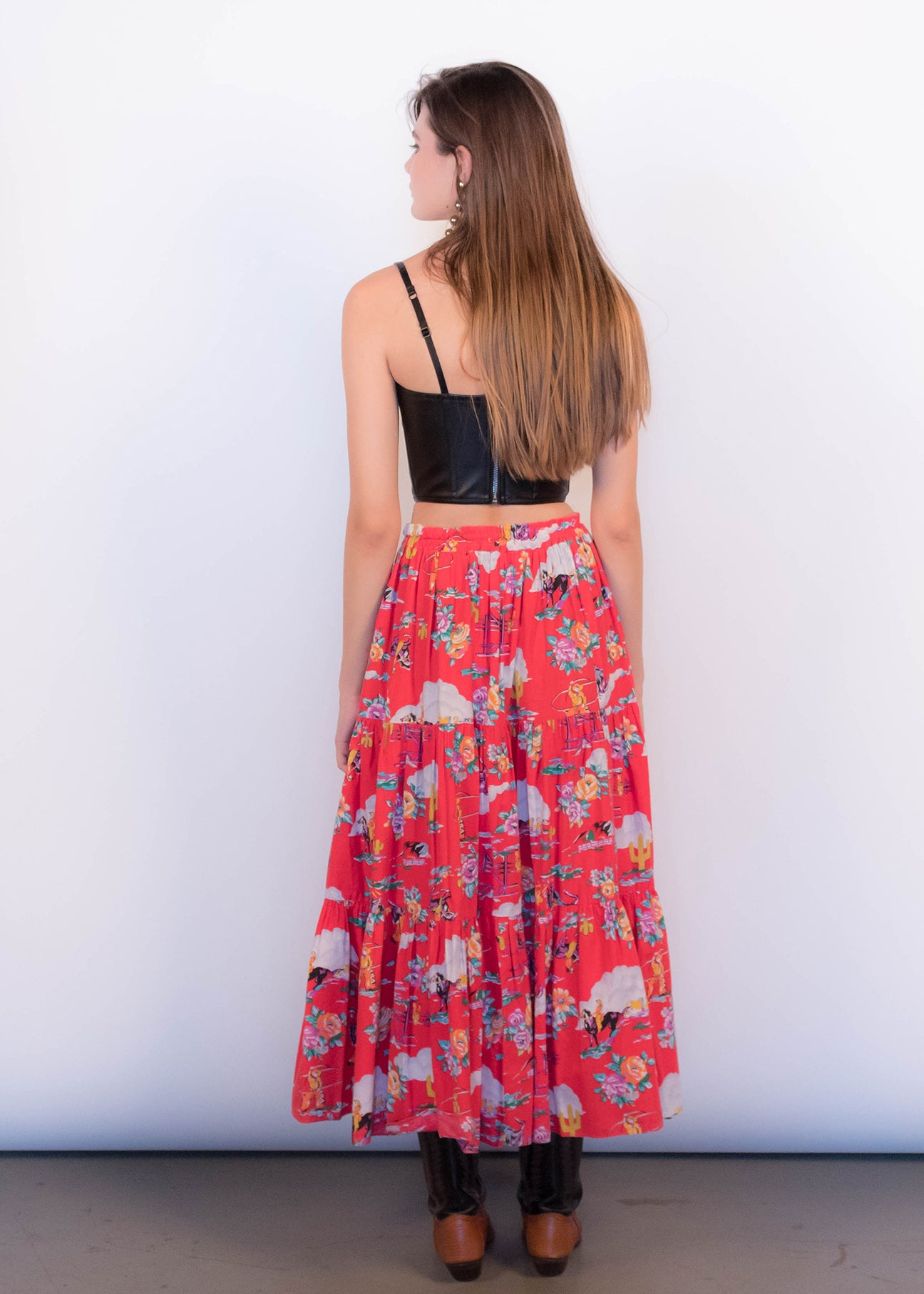 80s Floral Western Skirt