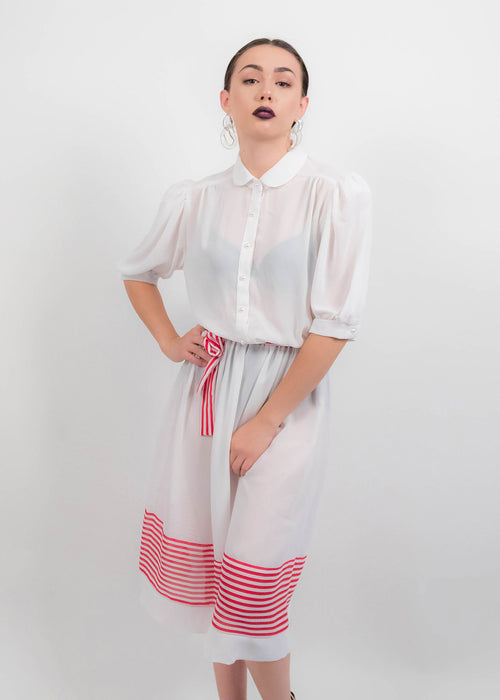 80s White Sheer Dress