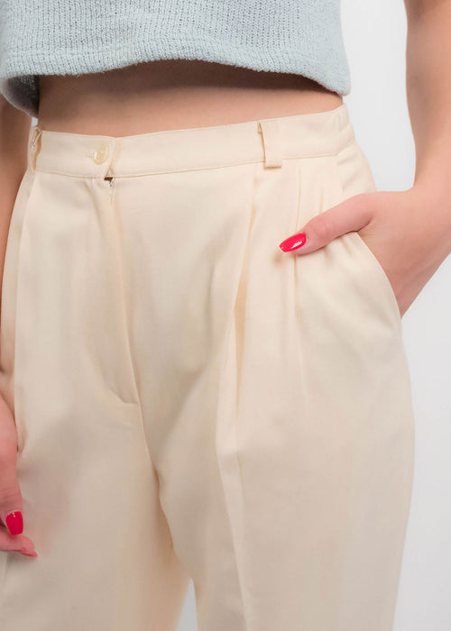 80s High-Waisted Butter Cream Trousers