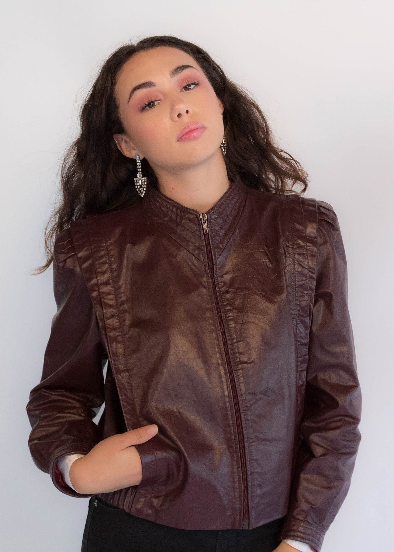 Maroon Brown Leather Jacket
