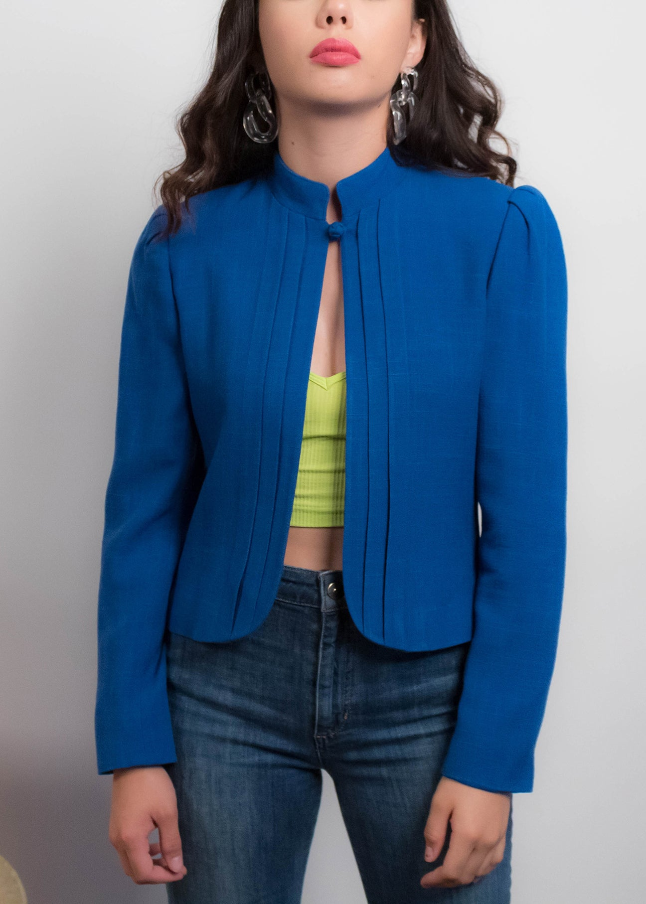 80s Electric Blue Puff-Sleeve Linen Blazer