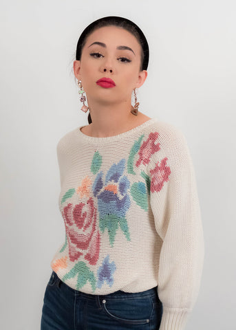 90s Cotton Crochet Ecru Top