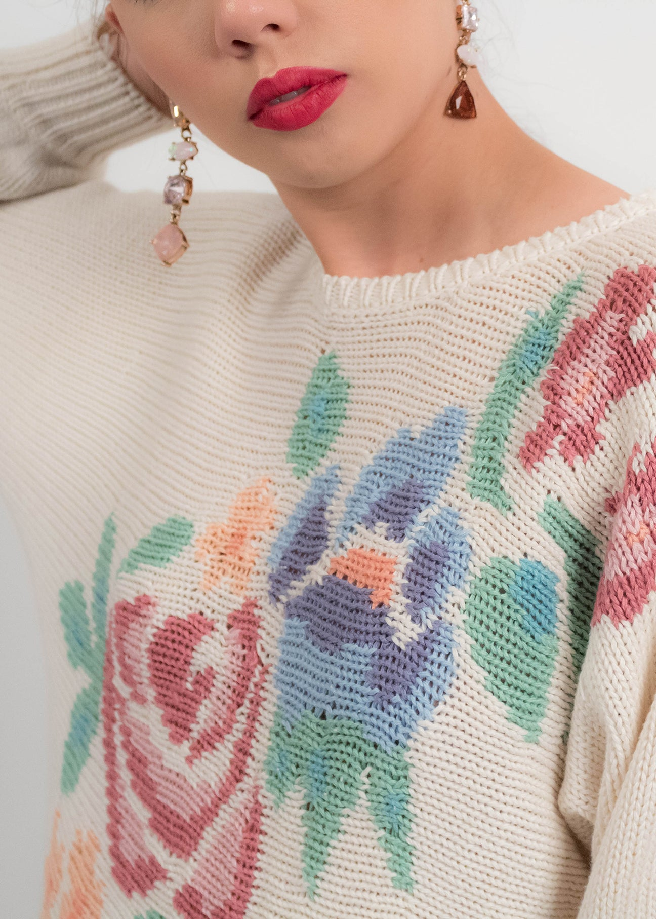 80s Hand Loomed Knit Floral Sweater