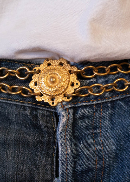 70s Gold-Tone Chain Link Medallion Belt
