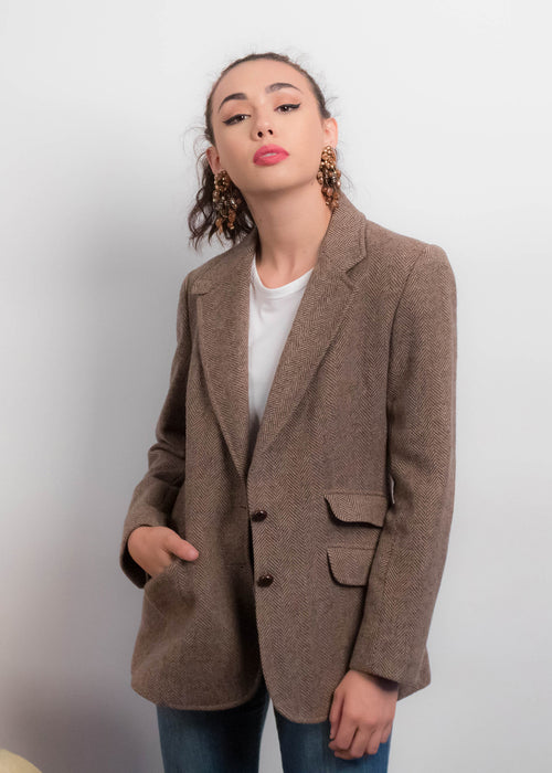 80s Herringbone Elbow Patch Blazer