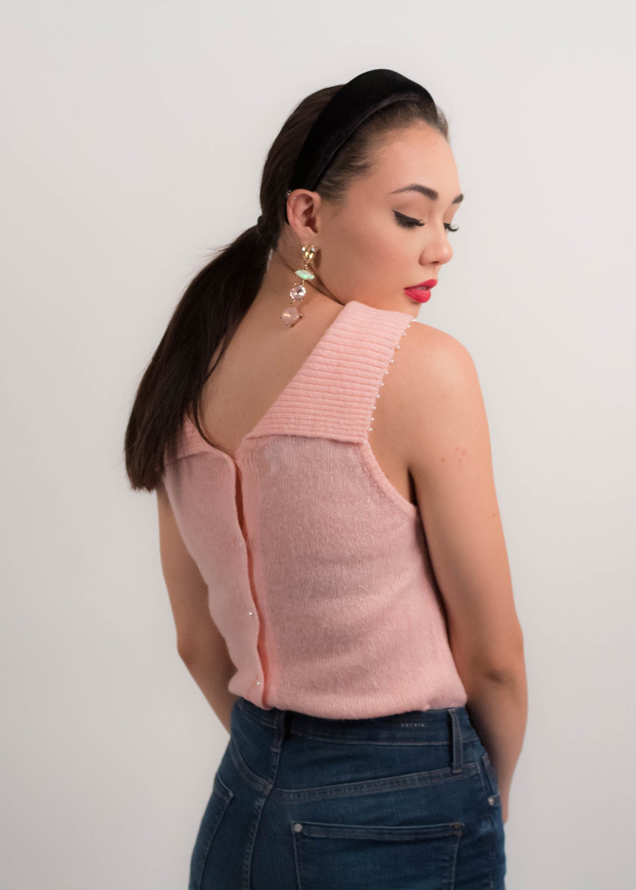 80s Low Collar Pink Knit Top