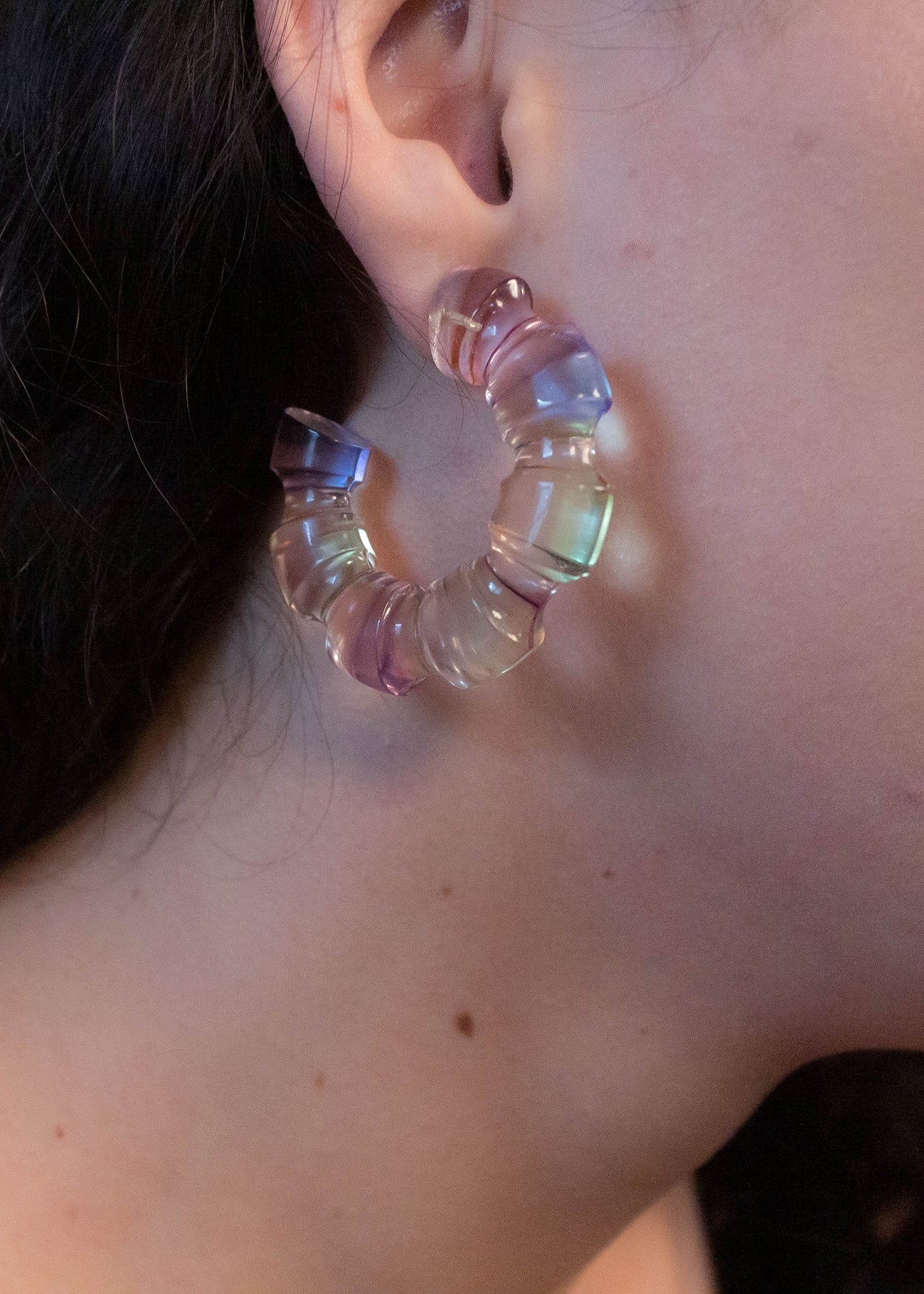 80s Clear Lucite Hoop Earrings