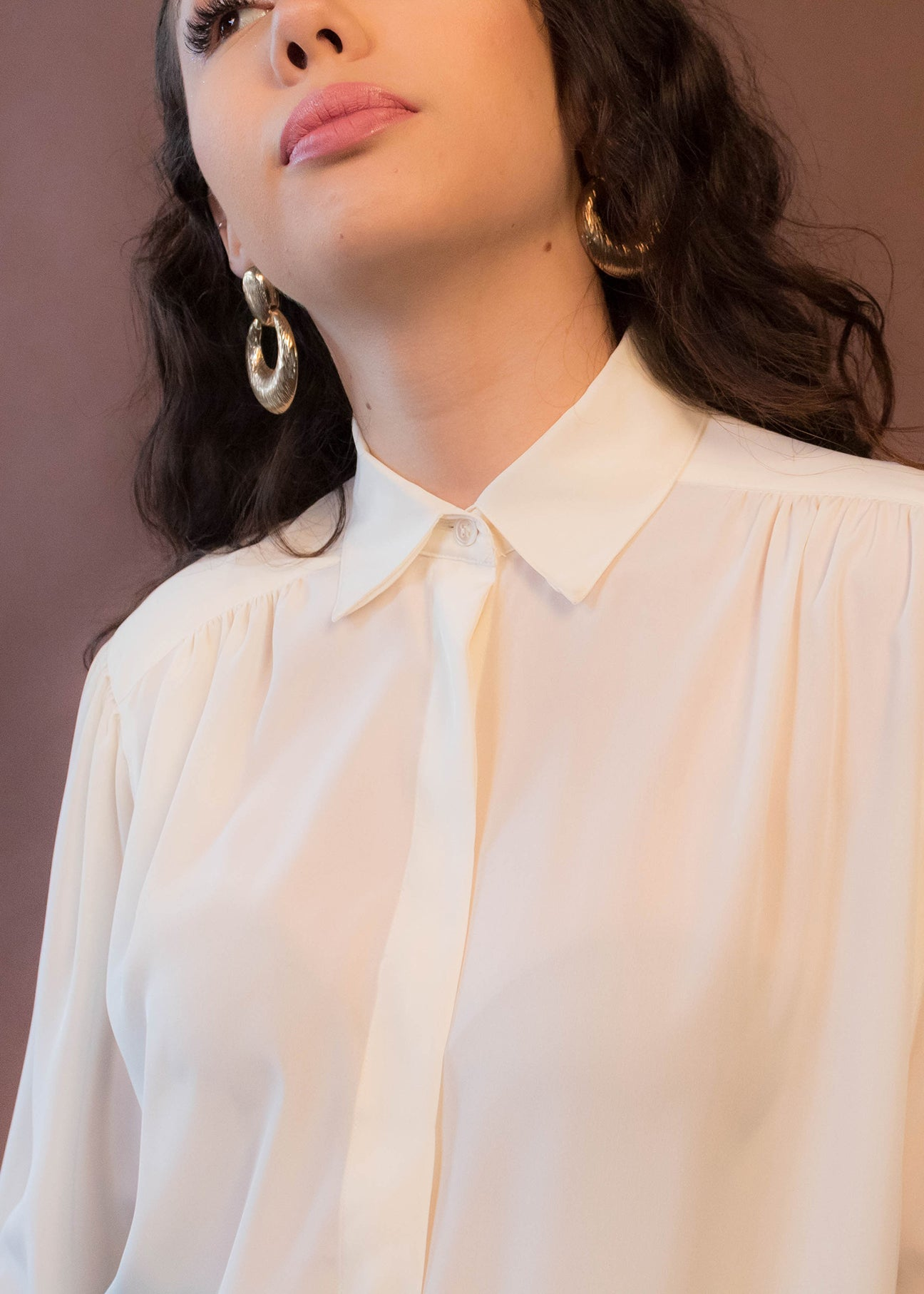 80s Minimal Silky Button Up Blouse