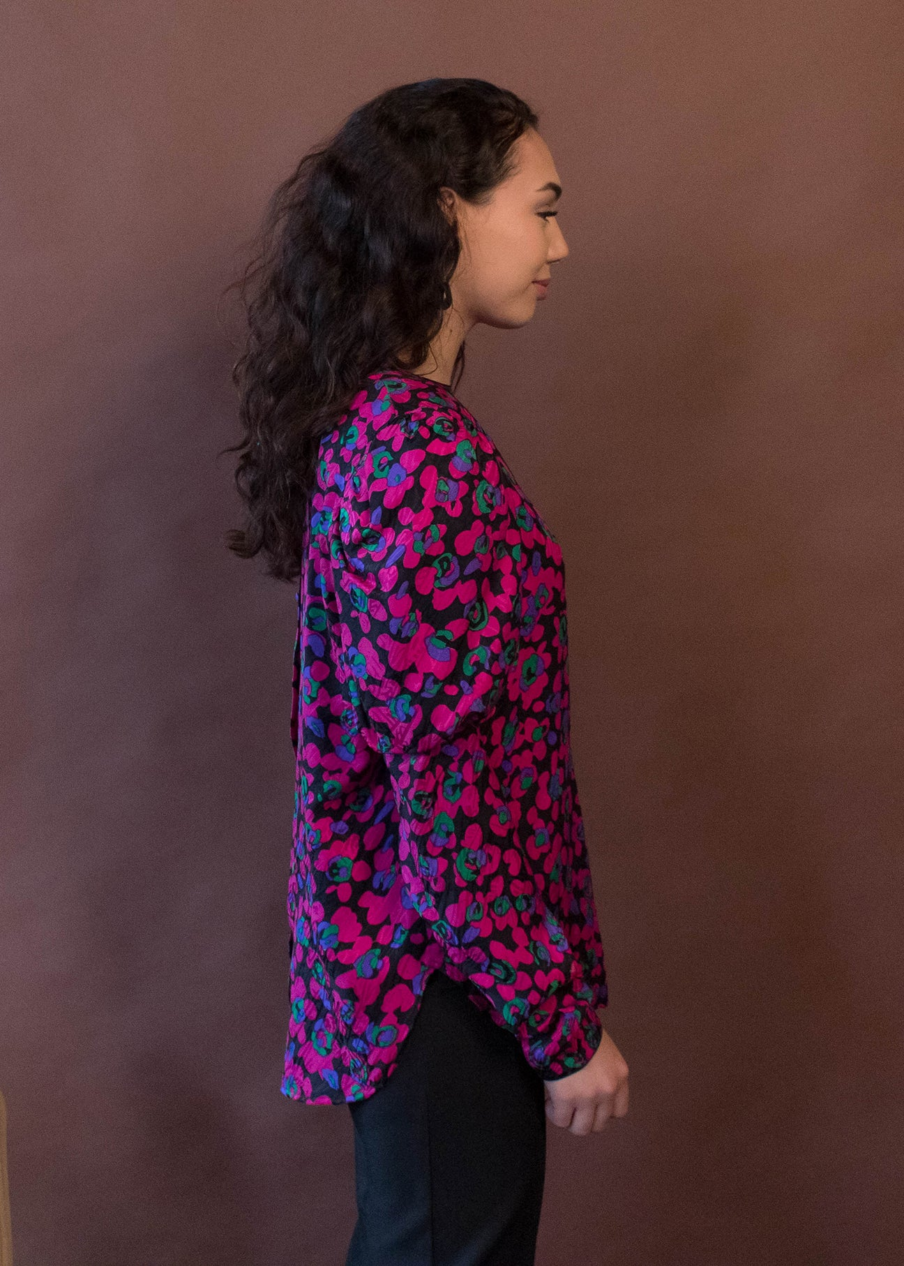 80s Floral Leg-O-Mutton Sleeve Blouse
