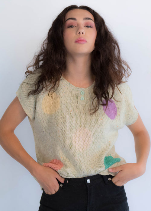 80s Silk Polka-Dot Knit Top