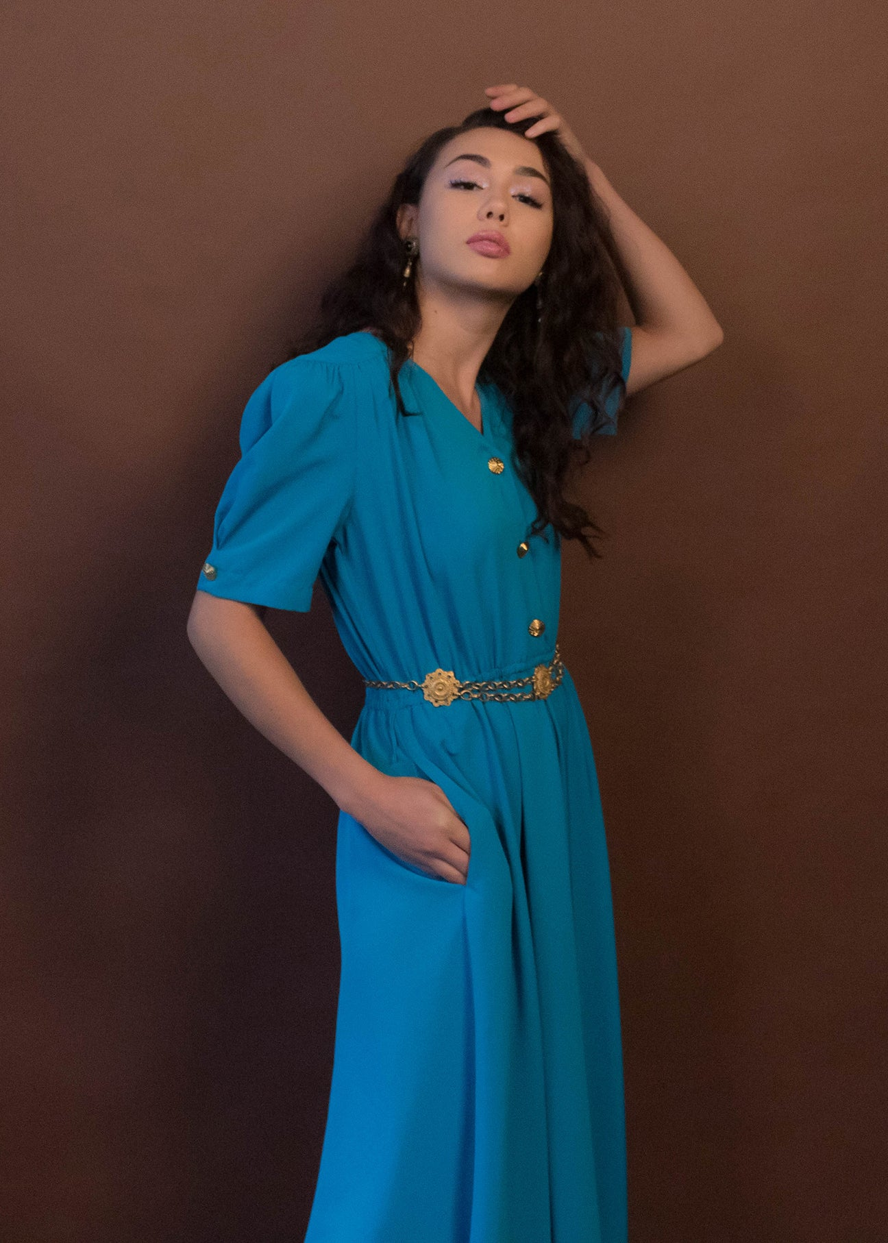 80s Silky Blue Puff Sleeve Dress