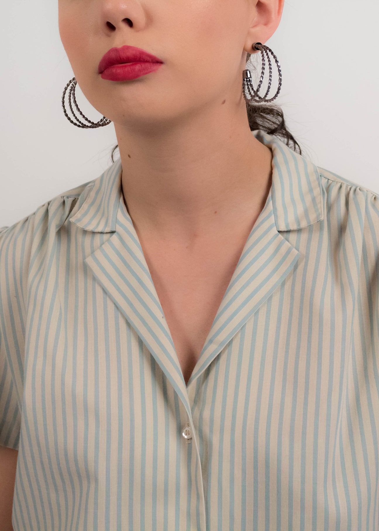 80s Striped Cotton Top