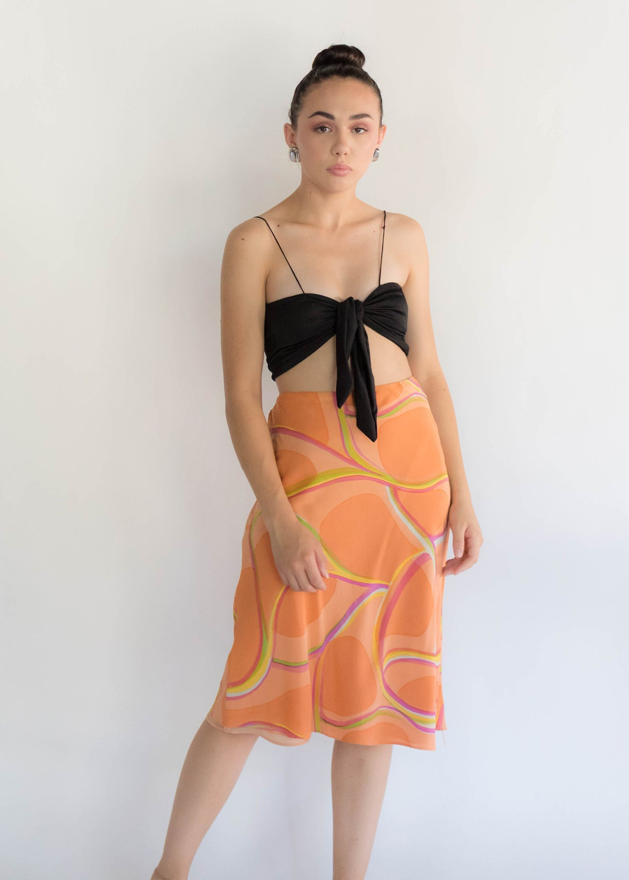 90s Abstract Silk Skirt