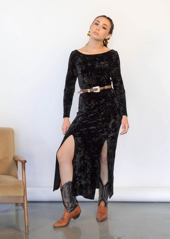 90s Ruched Crushed Velvet Dress