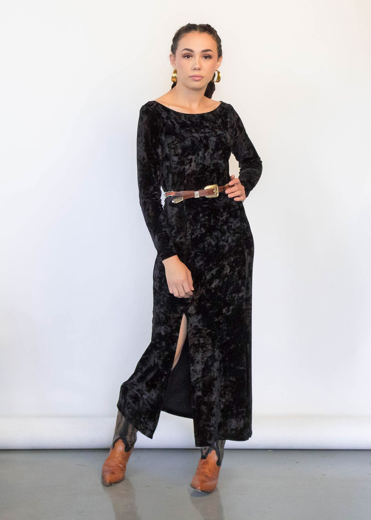 90s Crushed Velvet Maxi Dress