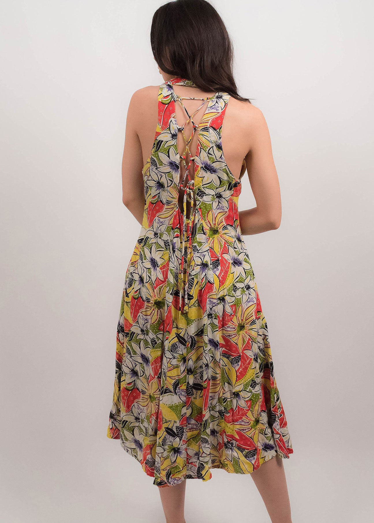80s Tropical Floral Dress