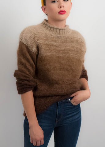 90s Spaced Dyed Henley Sweater