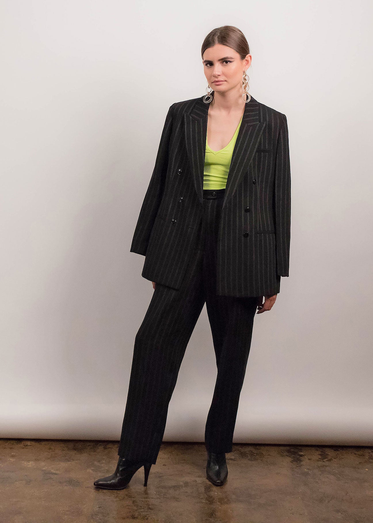 90s Double-Breasted Pin Striped Suit