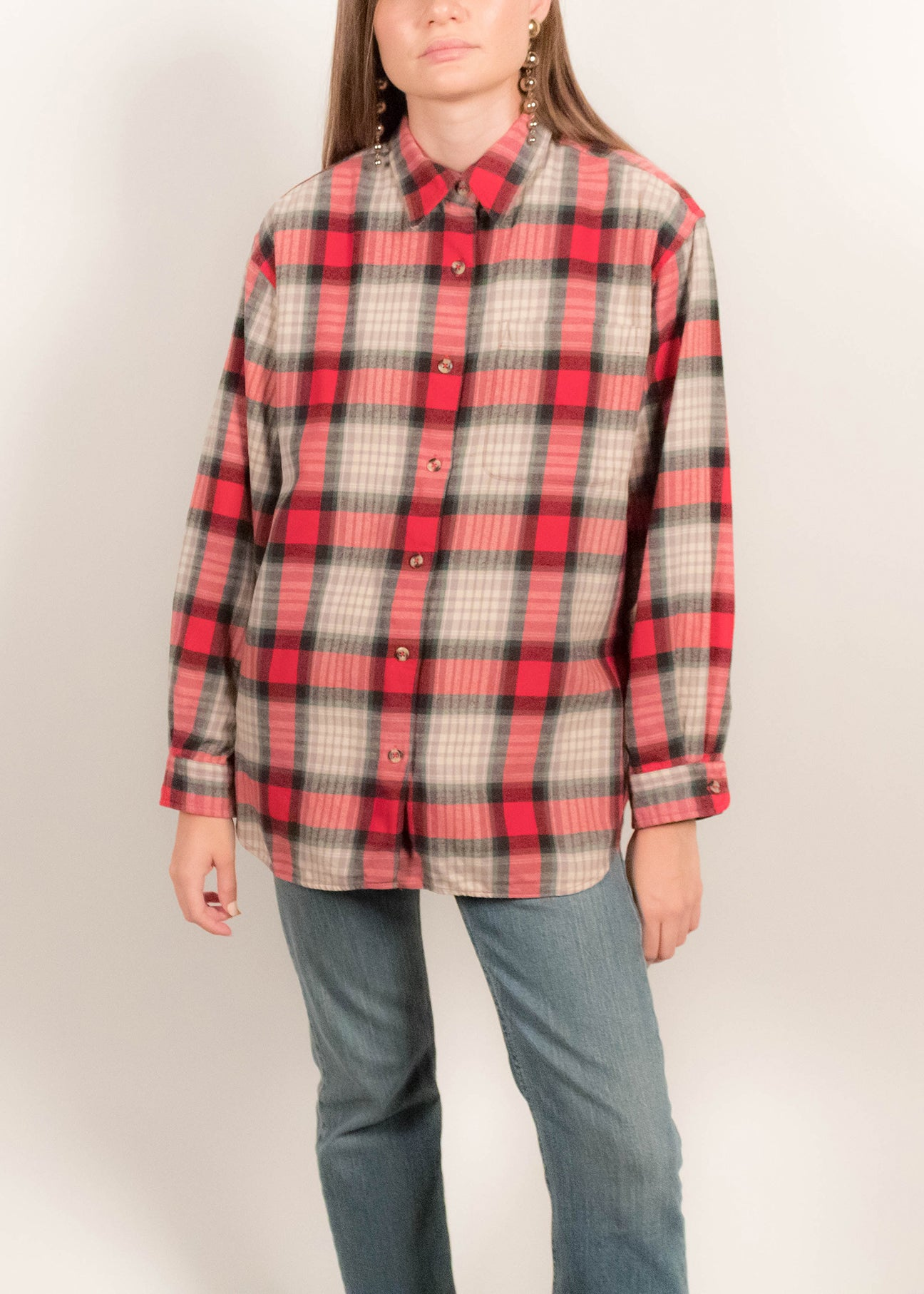 90s Cotton Plaid Overshirt