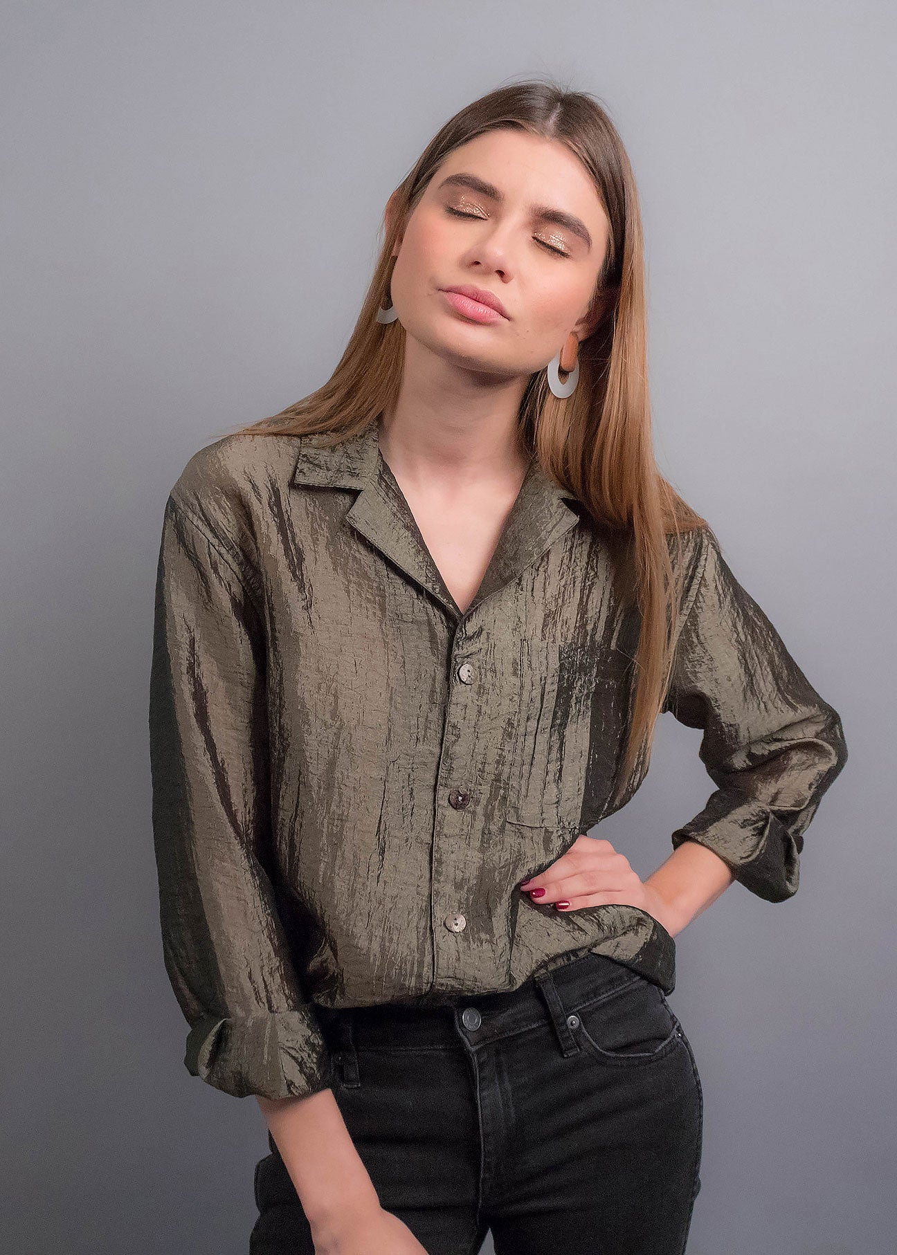 90s Crinkle Blouse
