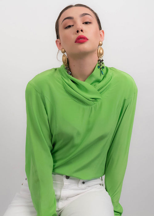 90s Lime Green Silk Blouse